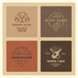 Grunge wine logos. Vintage hipster wine vector emblems