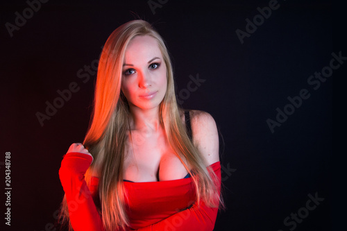 Beautiful Woman With Big Breasts In Red Dress Female Sexy Breast