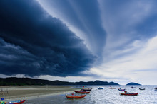 Storm Is Coming, Rain Clouds Before The Storm In Tropical Sea Landscape.Thailand.