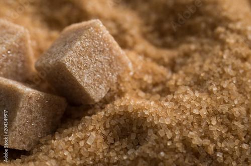 Close up shot of brown cane sugar