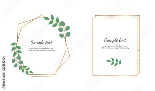 Geometric Polygonal Frames With Golden Lines And Leaves Eucalyptus