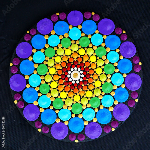 Photo  Beautiful mandala hand painted