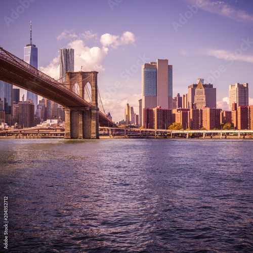 Tuinposter Amerikaanse Plekken New York au coucher du soleil