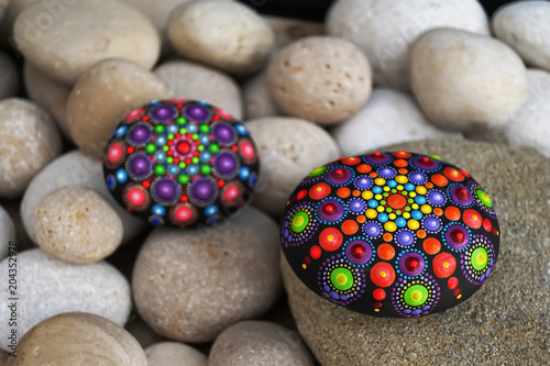 Beautiful hand painted mandala rocks Tablou Canvas