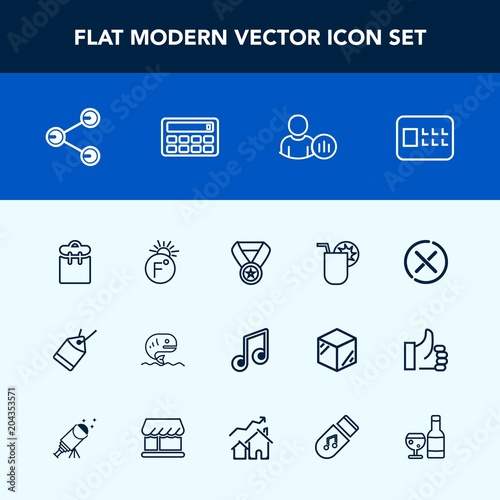 Modern, simple vector icon set with paper, lock, fish, status