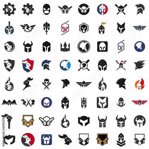 helmet of knight logo armor icon warrior symbol vector eps 08