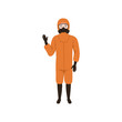 Man in orange protective costume standing and waving hand. Protection against chemical or biological hazard. Flat vector design