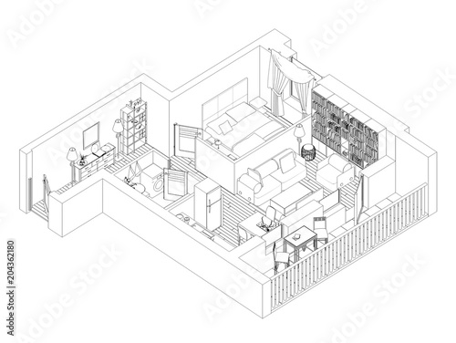 Line Drawing Floor Plan On A White Background Mock Up Of Furnished Home Apartment