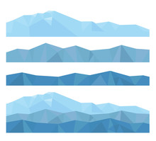 Vector Isolated Flat Illustration Of Mountains From Geometric Shapes Of Triangles, Create Your Mountain Landscape!