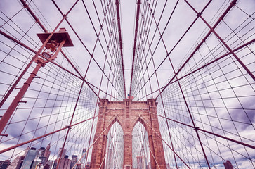 Vintage toned picture of the Brooklyn Bridge, New York City, USA.