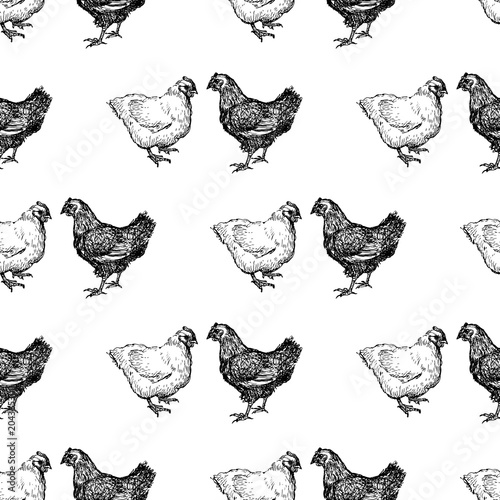 Cotton fabric Pattern of the drawn hens