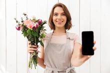 Happy Florist Woman Standing W...