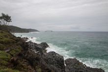 Cape Byron, Australia Overcast Choppy Coastline Above The Rocks Looking Out To Sea