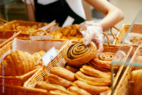 Bakery Food. Fresh Pastries In Pastry Shop