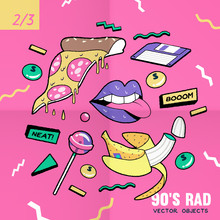 The 90's Rad, 90's Style Vector Isolated Objects And Graphic Elements,