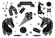 Hand Drawn Circus Elements Sti...