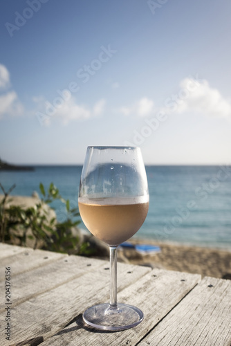 Staande foto Alcohol Glass of rose by ocean