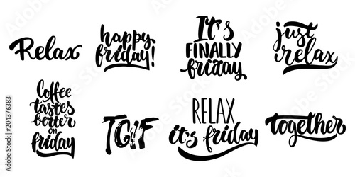 Hand drawn lettering quotes about Friday, TGIF collections isolated on the white background Wallpaper Mural