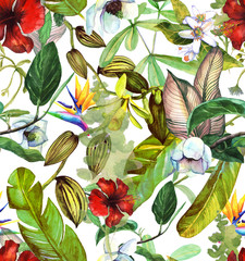 Fototapeta Do pokoju Seamless watercolor pattern with tropical flowers, magnolia, orange flower, vanilla orchid, tropical leaves, banana leaves