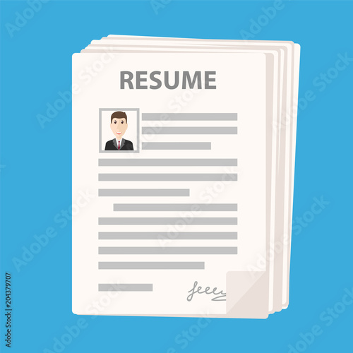 Many Resume Forms Icon On Blue Background Cv Application Stack