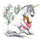 White unicorn and princess watercolor hand drawn illustration - 204381555