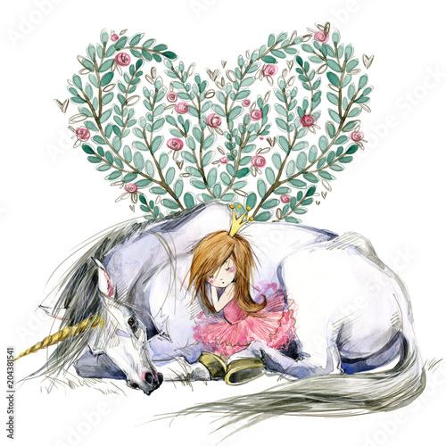 Fotografie, Obraz White unicorn and princess watercolor hand drawn illustration