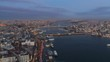 Aerial drone shot of sunrise in Istanbul, Turkie. From above, city centre, downtown. Bosphorus.