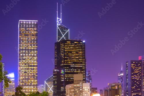 Foto op Aluminium Hong-Kong Skyline of office buildings at Chung Wan (central district), Hong Kong Isaland, Hong Kong, China, Asia