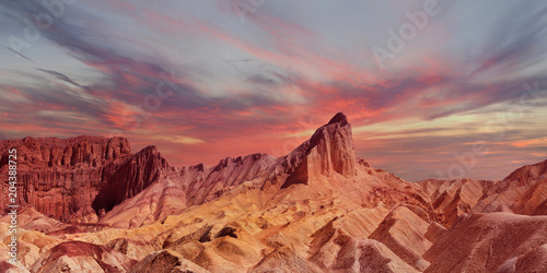 Aluminium Prints Dark grey Panorama of the Backside of Zabriski Point Death Valley at Sunset