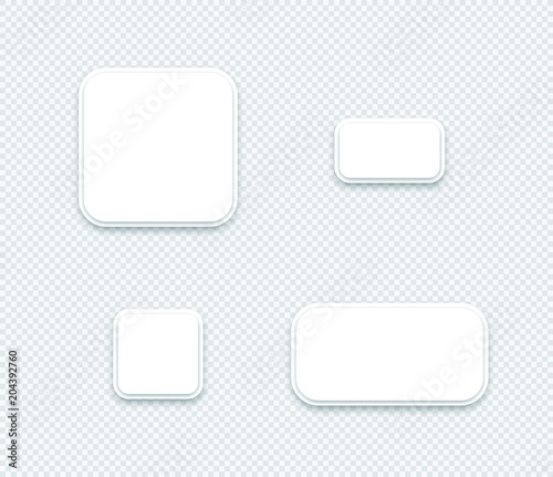 Fotografía  Vector 3d Blank White Paper Layered Square Shapes Set