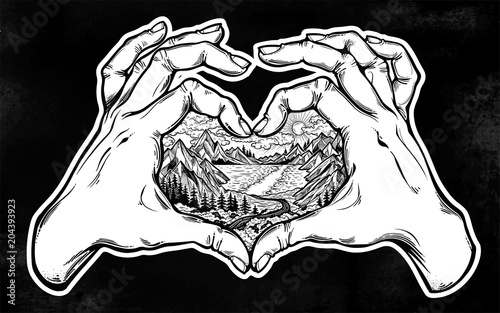 Fotografía  Two hands making heart sign with landscape scene