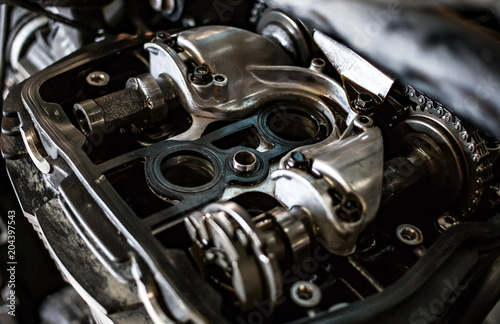 Fotografie, Obraz  valves engine bike close up timing mechanism disassemble