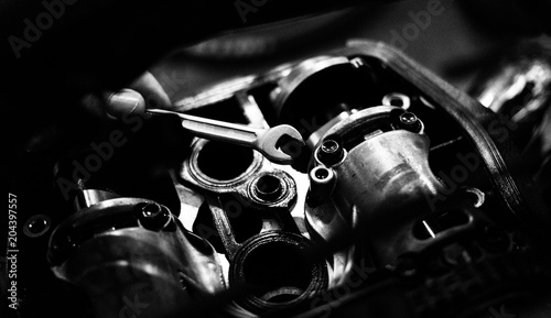 Fotografia, Obraz  valves engine bike close up timing mechanism disassemble black and white photo