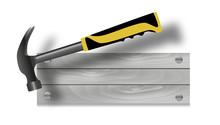 Hammer And Sign Nailed. Signboard Logo Repair Professional Handyman Services. Vector