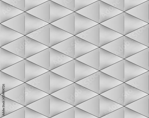 3d rendering. Seamless Gray Triangular shape pattern wall background.