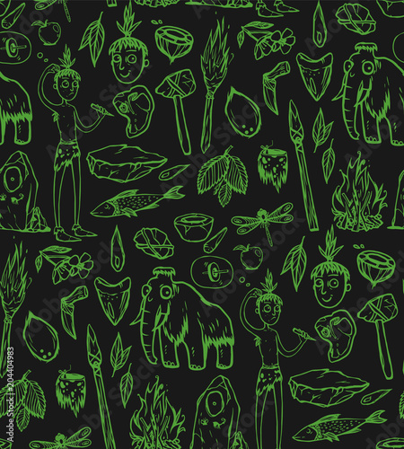 Foto op Canvas Kunstmatig Seamless texture with prehistoric life of the caveman in Stone Age. Repeating background. Tile pattern.