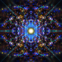 Abstract Intricate Symmetrical Blue And Golden Ornament. Fantastic Fractal Mandala. Psychedelic Digital