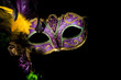 canvas print picture - A purple mardi gras or venitian mask with feathers and flowers on a black background with copy space