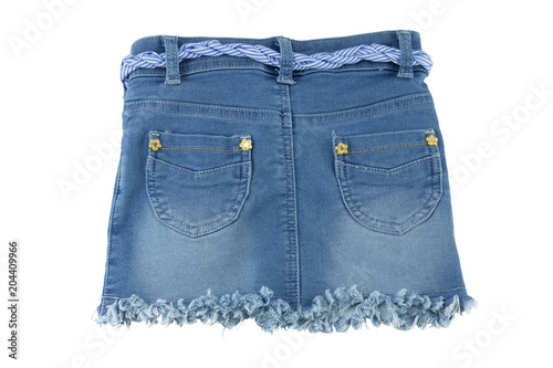 Back view of fashionable blue jeans skirt for children. Wallpaper Mural