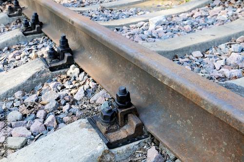 Poster Voies ferrées Rusty rails of the abandoned railroad.