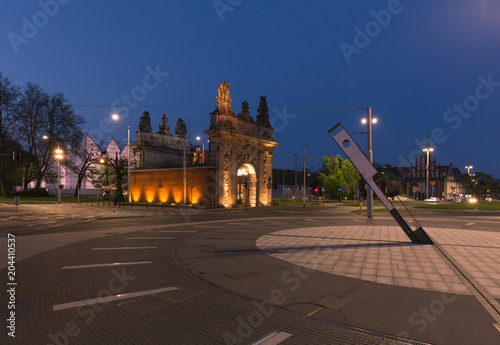 Deurstickers Oost Europa night view of the historic port gate in Szczecin.