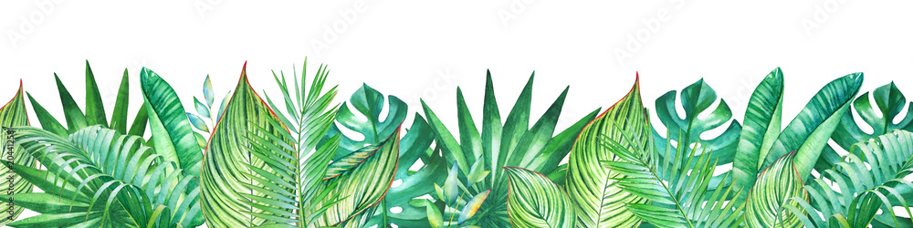 Fototapety, obrazy: Background with watercolor tropical plants. Useful for design of banners, cards, greetings, invitations and many others.