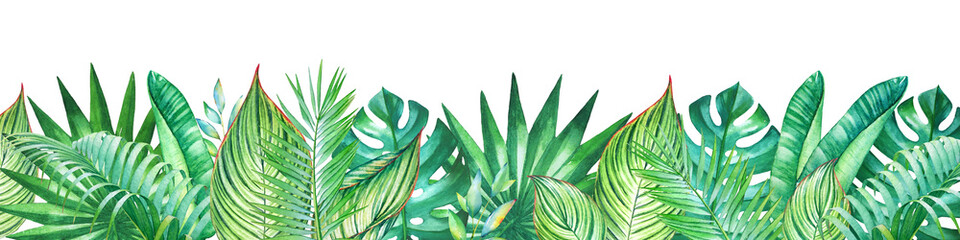 Background with watercolor tropical plants. Useful for design of banners, car...
