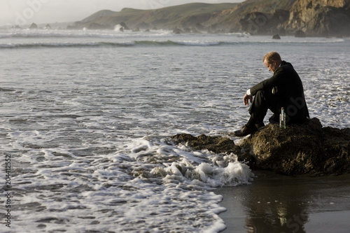 Poster Strand Businessman sitting on rock at beach