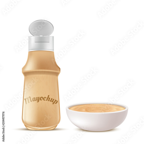 Photo  Vector realistic plastic bottle and ceramic bowl full of mayochup, sauce mixed from mayonnaise and ketchup, isolated on background