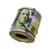 Dollar Roll Tightened With Band. Rolled Money Isolated On White.