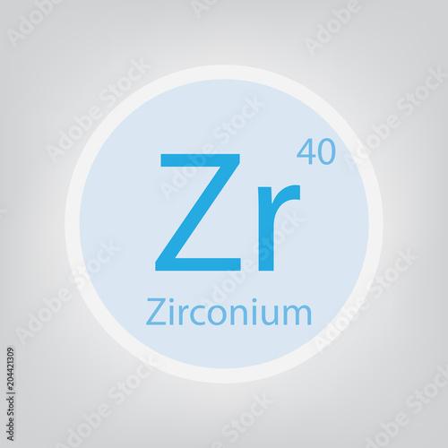 Fotografia, Obraz  Zirconium Zr chemical element icon- vector illustration