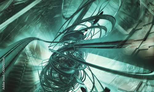 3D rendering of abstract technology background Fototapet