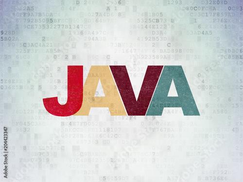 Fototapeta Database concept: Painted multicolor text Java on Digital Data Paper background