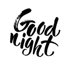 Good Night Card. Hand Drawn Le...